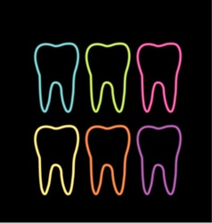 Neon tooth icon vector