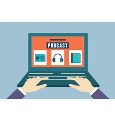 Flat concept of audio podcast vector