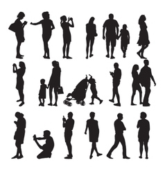 Set of silhouette people vector