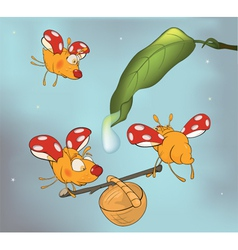 Ladybirds and dew cartoon vector