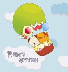 Babys arrival announcement card vector
