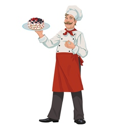 Chef with cake vector