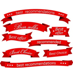 Set of red flat ribbons vector