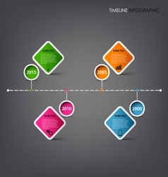 Time line info graphic with square design element vector