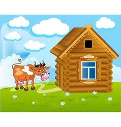 Cow and barn vector