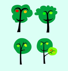 Trees with fruits vector