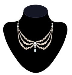 Pearl necklace with diamonds vector