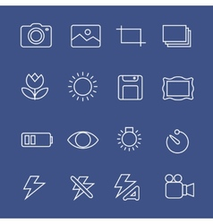 Photography white icons vector