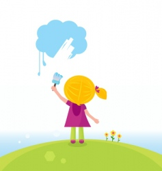 Artist kid painting on sky vector