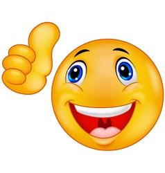 Happy smiley emoticon giving thumbs up vector