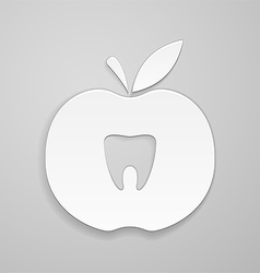 Tooth in apple vector