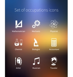 Set of occupations icons - mathematician mechanic vector