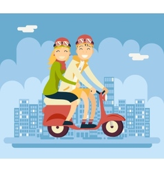 Hipster male female couple characters riding vector