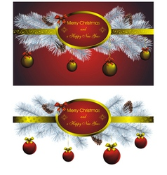 Set of two christmas label with golden decor vector