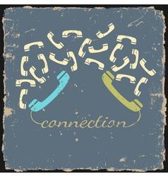 Retro phone connection vector