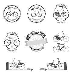 Set of rent a bike design elements vector