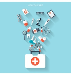 Flat health care and medical research background vector