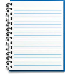 Blank lined notebook vector