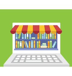 Library of books for read in laptop vector