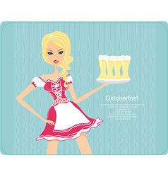 Oktoberfest waitress with beers on a tray - card vector
