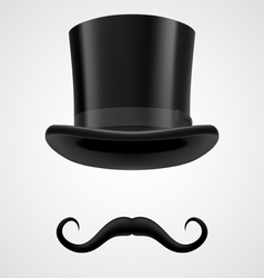 Moustaches and stovepipe hat magician vector