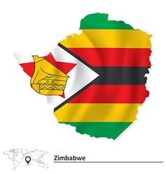 Map of zimbabwe with flag vector