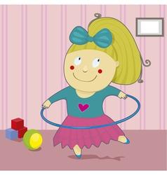 Girl with hoop vector