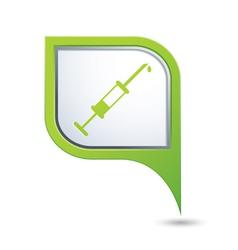 Hospital symbol on green map pointer vector