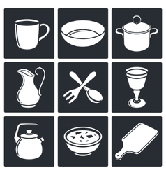 Tableware icons set vector