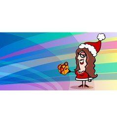 Woman santa claus greeting card vector