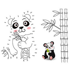 Panda connect the dots and color vector