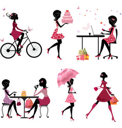 Silhouette girls set vector