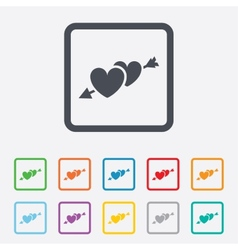 Hearts with arrow sign icon love symbol vector