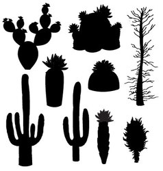 Silhouette cactus and tree vector