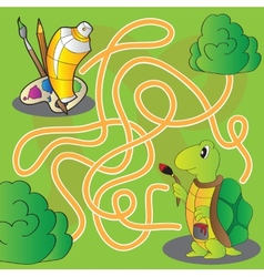 Maze for children - help the turtle get to paints vector