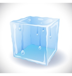 Ice cube with drops vector