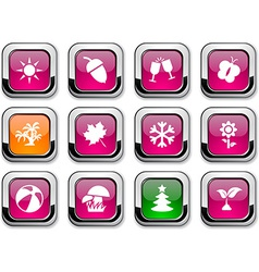 Seasons icons vector