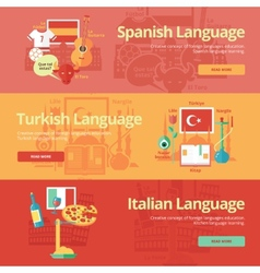 Flat banners for spanish turkish italian vector