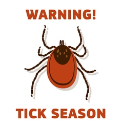 Tick season warning card vector