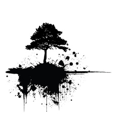 Grunge tree silhouette vector