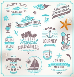 Set of travel and vacation emblems and symb vector
