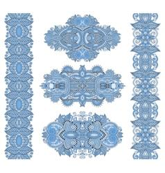 Ornamental floral adornment of blue colour vector