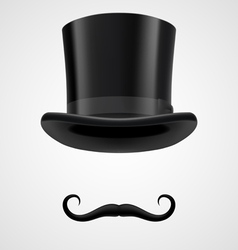 Moustaches and top hat victorian aristocrat vector