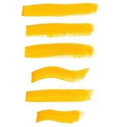 Yellow ink brush strokes vector