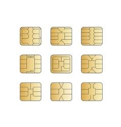 Mobile cellular phone sim card chip set vector