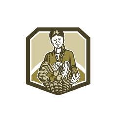 Female organic farmer crop harvest woodcut vector