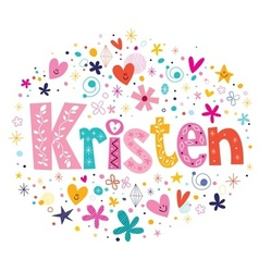 Kristen female name decorative lettering type vector