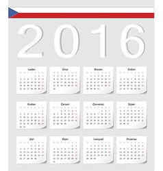 Czech 2016 calendar with shadow angles vector
