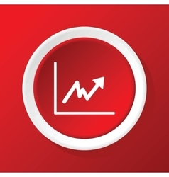 Rising graph icon on red vector