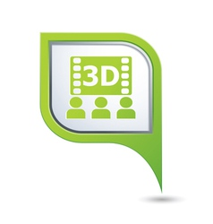 3d cinema icon on green map pointer vector